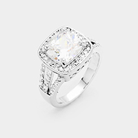 Cubic Zirconia Square Detail Ring