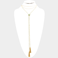 Semi Precious Rectangle Drop Double Chain Tassel Necklace