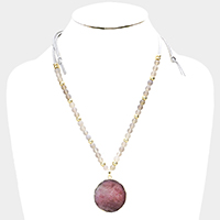 Semi Precious Beaded Genuine Druzy Pendant Necklace
