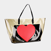 2PCS - Transparent Heart Tote Bag Solid Clutch Bag
