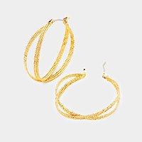 Layered Metal Crisscross Pin Catch Hoop Earrings