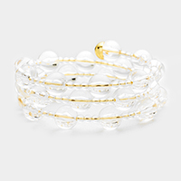 Clear Lucite Bead Tiny Pearl Coil Bracelet