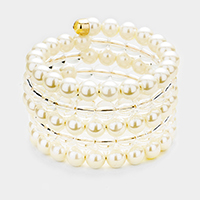 Pearl Clear Lucite Bead Coil Bracelet