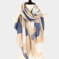 Geometric Print Pleated Scarf