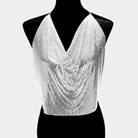 Metal Mesh Camisole Top Body Chain Necklace