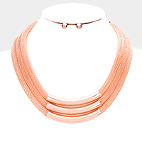Layered Mesh Chain Metal Tube Bib Necklace