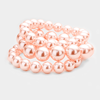 3PCS Faux Pearl Stretch Bracelet
