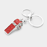 Pave Crystal Rhinestone Whistle Key Chain