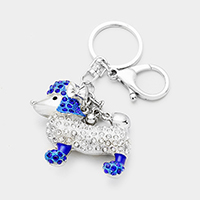 Pave Crystal Rhinestone Poodle Key Chain