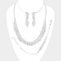 Pave Bubble Stone Cluster Necklace Jewelry Set