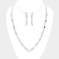 Pave Crystal Rhinestone Rectangle Accented Necklace