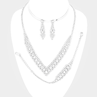 Pave Bubble Stone V Collar Necklace Jewelry Set