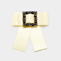 Fabric Stone Detail Bow Ribbon Brooch