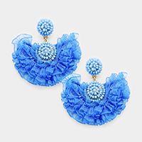 Beaded Dome Layered Lace Fringe Earrings