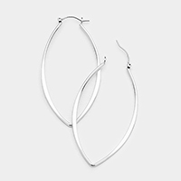 Metal Bar Oval Hoop Pin Catch Earrings