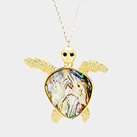 Abalone Turtle Pendant Long Necklace
