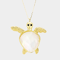 Mother of Pearl Turtle Pendant Long Necklace
