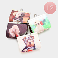 12PCS - Dog Print Coin Clasp Purses