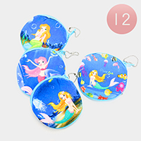 12PCS - Mermaid Print Coin Zipper Purses