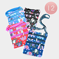 12PCS - Elephant Print Crossbody Bags