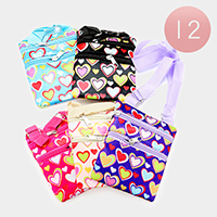 12PCS - Heart Print Crossbody Bags