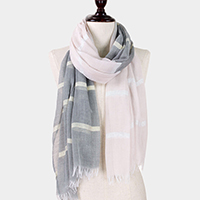 Lurex Stripe Two Tone Woven Scarf