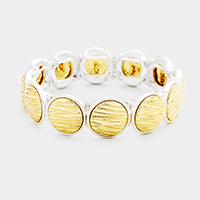 Embossed Metal Disc Stretch Bracelet