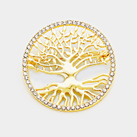 Stone Trimmed Tree of Life Pin Brooch