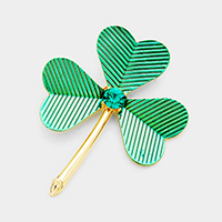 Stone Accented Cluster Clover Pin Brooch