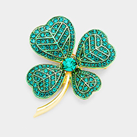 Pave Stone Cluster Clover Pin Brooch