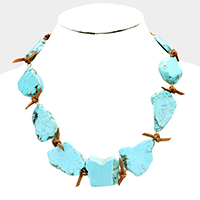 Knotted Suede Turquoise Bib Necklace