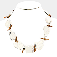 Knotted Suede Howlite Bib Necklace