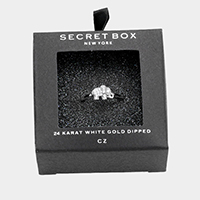 Secret Box _ 24k White Gold Dipped CZ Elephant Ring