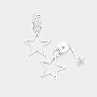 Cubic Zirconia Metal Star Earrings