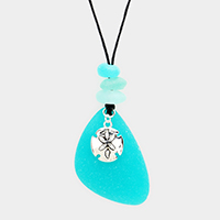Sea Glass Metal Sand Dollar Pendant Long Necklace