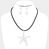 Cord Metal Starfish Pendant Necklace