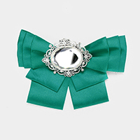 Oval Stone Detail Fabric Bow Ribbon Brooch