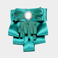 Round Stone Detail Fabric Bow Ribbon Brooch