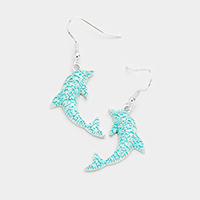 Dolphin Colored Metal Earrings