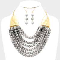 Multi Strand Faceted Beaded Bib Necklace