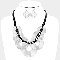Layered Cord Hammered Metal Hoop Bib Necklace