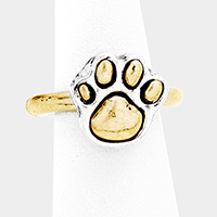 Paw Two Tone Metal Stretch Ring