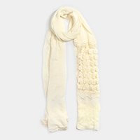 Floral Lace Detail Oblong Scarf