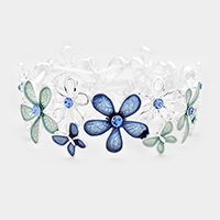 Stone Colored Metal Flower Butterfly Stretch Bracelet