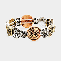 Swirl Metal Disc Stretch Bracelet