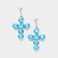 Stone Cross Dangle Earrings