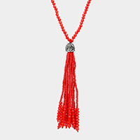 Hematite Beaded Tassel Long Necklace
