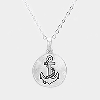 Engraved Anchor Metal Disc Pendant Necklace