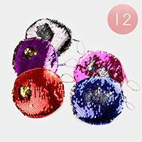 12PCS - Reversible Sequin Round Coin Zipper Purses