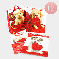 12PCS - Puppy Heart Print Gift Bags